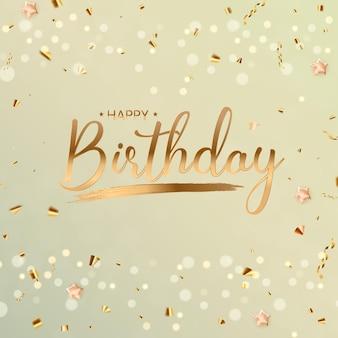 Fondo de feliz cumpleaños con confeti dorado y luces bokeh de brillo. ilustración vectorial eps10