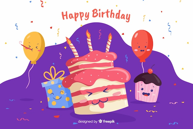 Fondo feliz cumpleaños con confeti
