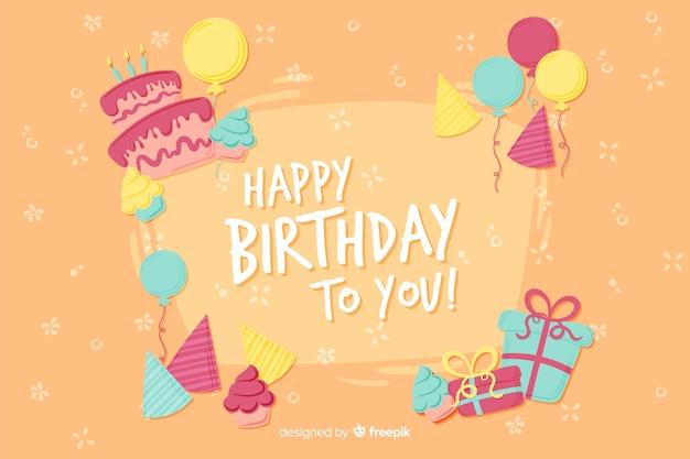 Fondo feliz cumpleaños dibujado a mano estilo