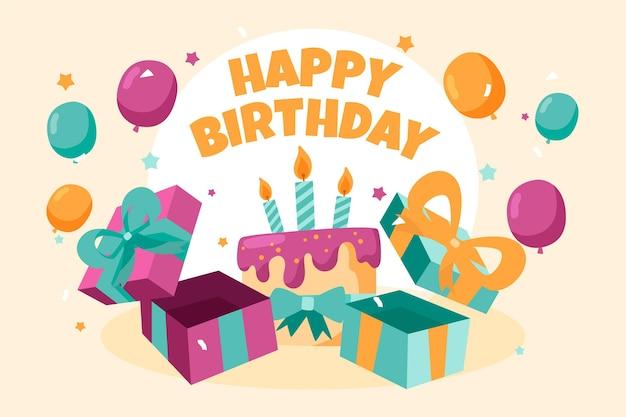 Fondo de feliz cumpleaños dibujado a mano