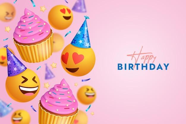 Fondo de feliz cumpleaños con diferentes emojis