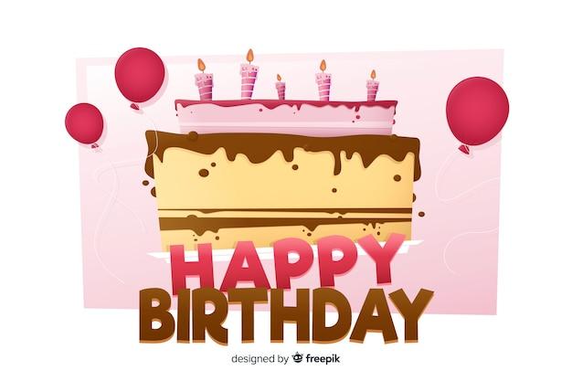 Fondo feliz cumpleaños en diseño plano con pastel