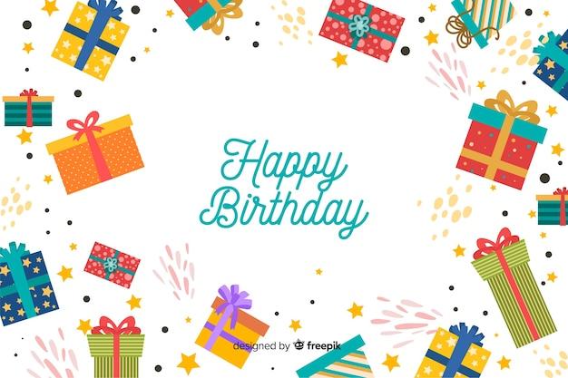 Fondo de feliz cumpleaños en diseño plano