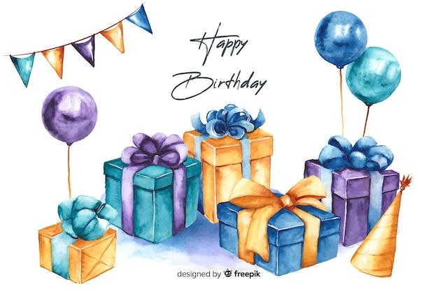 Fondo feliz cumpleaños en estilo acuarela