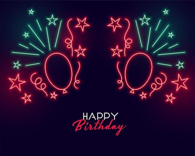 Fondo de feliz cumpleaños de estilo neón con globos