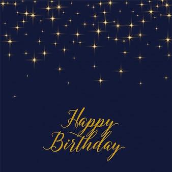 Fondo de feliz cumpleaños con estrellas doradas brillantes