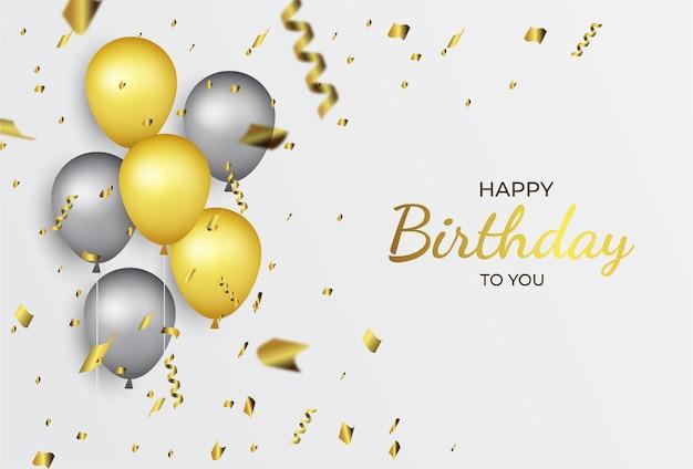 Fondo feliz cumpleaños globo dorado