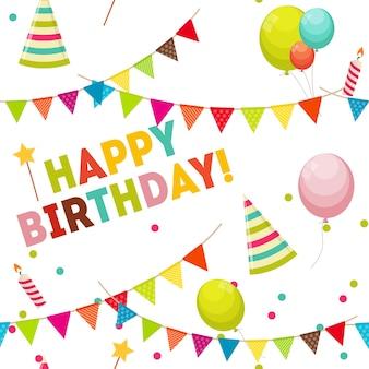 Fondo de feliz cumpleaños con globos, banderas y estrellas de patrones sin fisuras de vacaciones simples