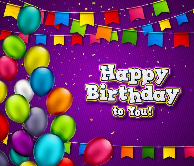 Fondo feliz cumpleaños con globos y guirnaldas de banderas