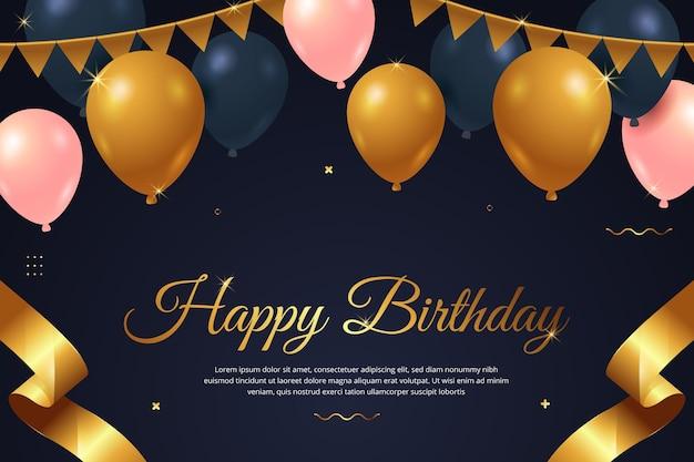 Fondo de feliz cumpleaños con globos y guirnaldas