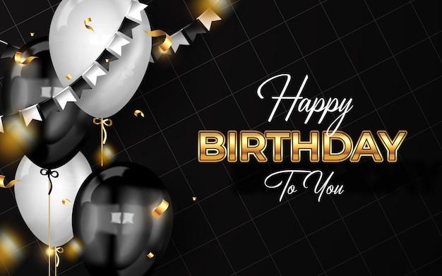Fondo de feliz cumpleaños con globos de lujo y confeti