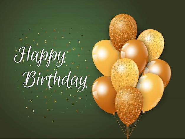 Fondo de feliz cumpleaños con globos de lujo