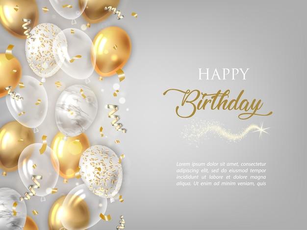 Fondo feliz cumpleaños con globos de oro.