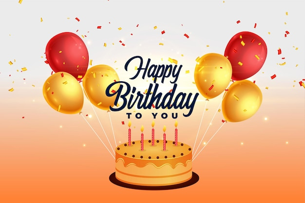 Fondo de feliz cumpleaños con globos y pastel