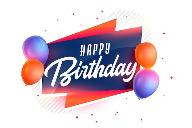 Fondo feliz cumpleaños con globos realistas 3d