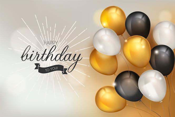 Fondo feliz cumpleaños con globos realistas