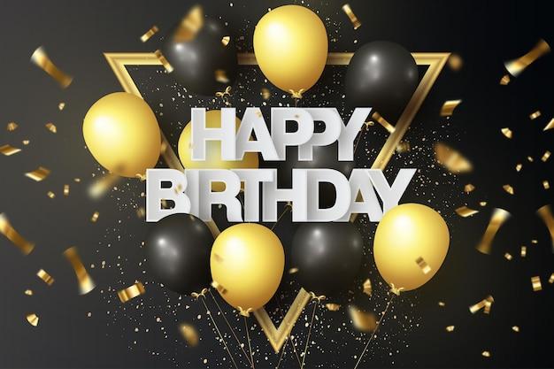 Fondo de feliz cumpleaños con globos realistas
