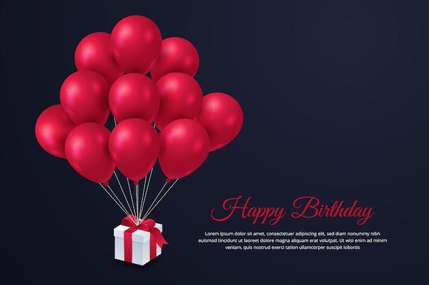 Fondo de feliz cumpleaños con globos y regalo