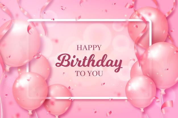 Fondo feliz cumpleaños con globos rosas