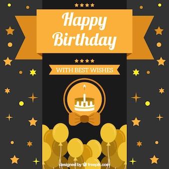 Fondo de feliz cumpleaños con globos y tarta