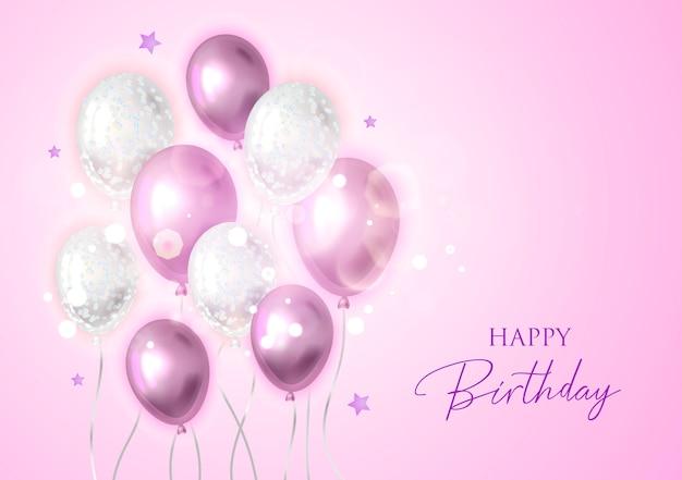 Fondo feliz cumpleaños con globos.
