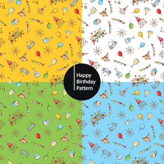 Fondo feliz cumpleaños iconos patrón