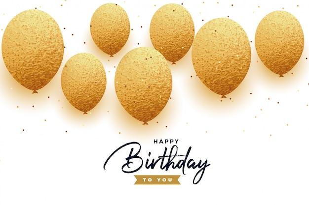 Fondo de feliz cumpleaños de lujo con globos dorados