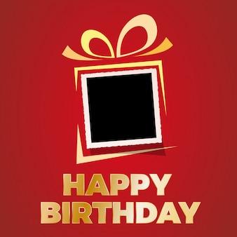 Fondo feliz cumpleaños con marco de fotos en blanco