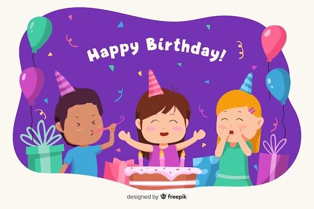 Fondo feliz cumpleaños con niños y pastel