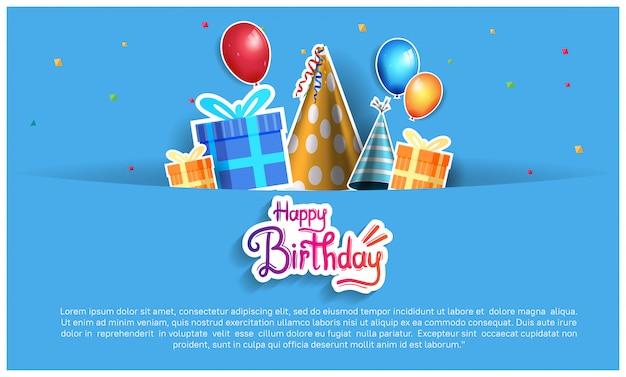 Fondo de feliz cumpleaños, pancarta, póster, invitación y tarjeta de felicitación