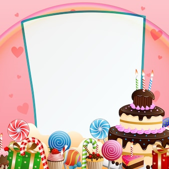 Fondo de feliz cumpleaños con pastel y dulces