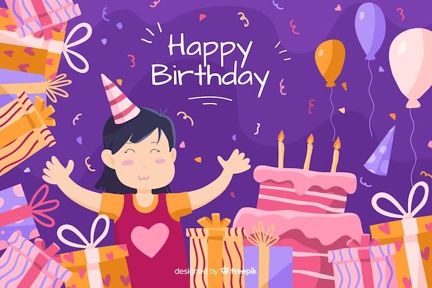 Fondo feliz cumpleaños con pastel y regalos