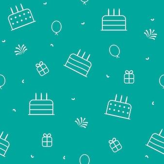 Fondo de feliz cumpleaños con tortas, globos, caja de regalo y abeto