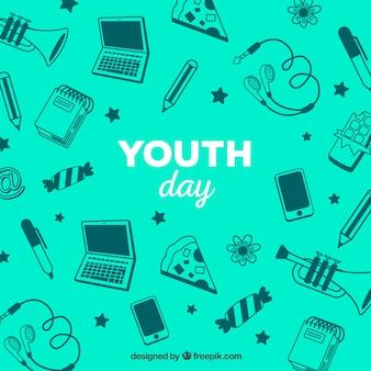 Fondo de feliz día de la juventud con elementos diferentes