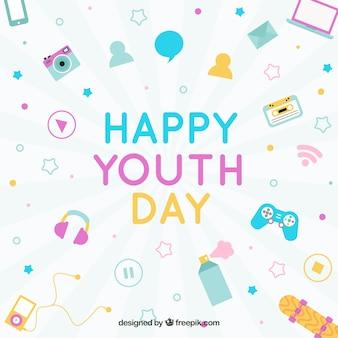 Fondo de feliz día de la juventud con elementos en diseño plano