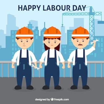 Fondo de feliz día laboral con trabajadores en estilo plano