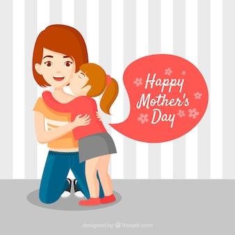 Fondo feliz día de la madre en diseño plano