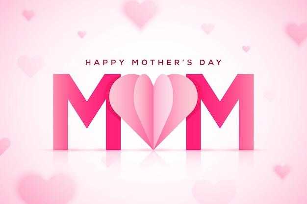 Fondo de feliz día de las madres con corazón cortado en papel y letras