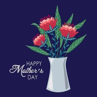 Fondo feliz día de las madres con flores