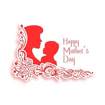 Fondo feliz día de las madres con silueta de mamá y niño