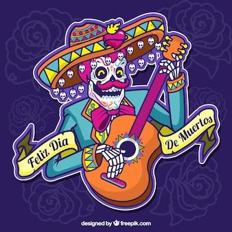 Fondo de feliz día de muertos con ilustración de calavera mexicana