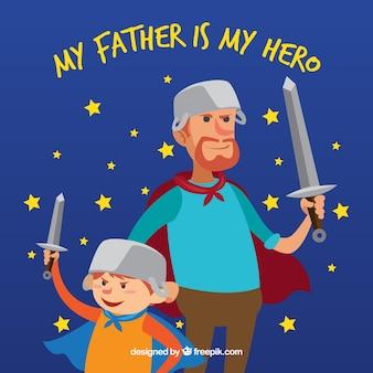Fondo de feliz día del padre con familia de superhéroes