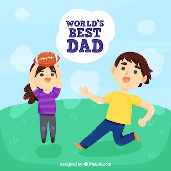 Fondo de feliz día del padre con niños jugando