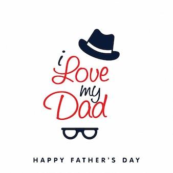 Fondo de feliz día del padre con sombrero y gafas