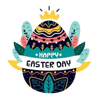 Fondo de feliz día de pascua dibujado a mano