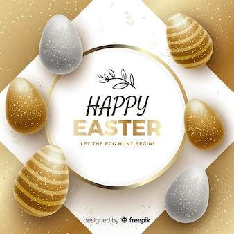 Fondo feliz día de pascua dorado
