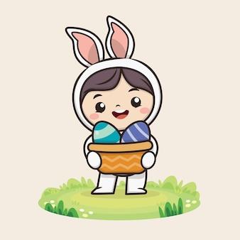 Fondo de feliz día de pascua con ilustración de conejo lindo conejito kawaii