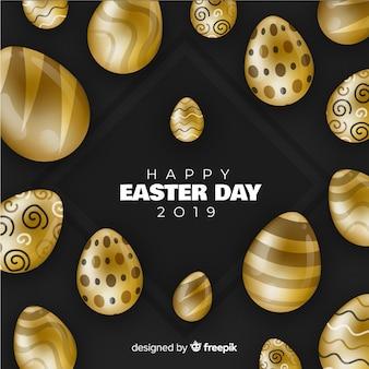Fondo de feliz día de pascua negro y dorado