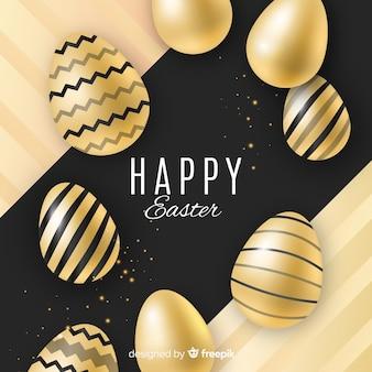 Fondo feliz día de pascua negro y  dorado