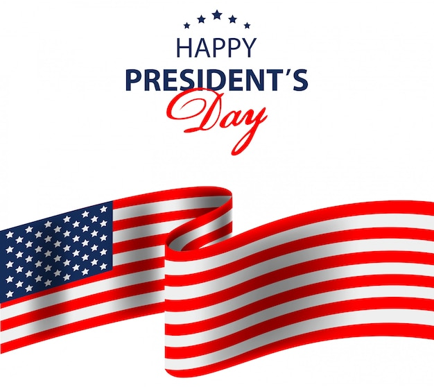 Fondo de feliz día de los presidentes con la bandera de estados unidos.